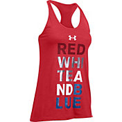 Under Armour Women's Red White Gold Graphic T-Back Tank Top