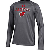 Under Armour Youth Wisconsin Badgers Grey Tech Performance Long Sleeve Shirt