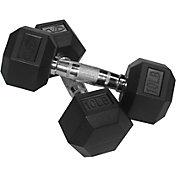 Valor Fitness Rubber Hex 10 lb Dumbbells