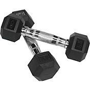 Valor Fitness Rubber Hex 3 lb Dumbbells