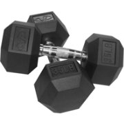 Valor Fitness 35 lb. Rubber Hex Dumbbells