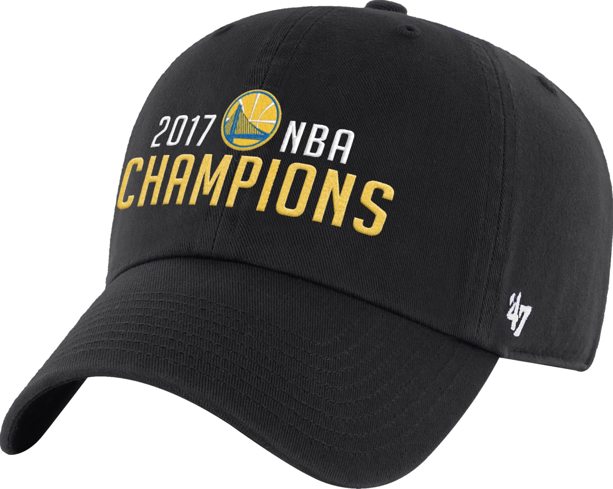 47 Mens 2017 NBA Champions Golden State Warriors Clean Up Black Adjustable Hat DICKS Sporting Goods
