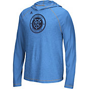 adidas Men's New York City FC Ultimate Light Blue Hoodie T-Shirt