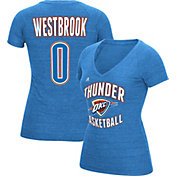 adidas Women's Oklahoma City Thunder Russell Westbrook #0 Blue Tri-Blend V-Neck T-Shirt