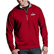 Antigua Men's 5X Super Bowl LI Champions New England Patriots Leader Quarter-Zip Red Pullover
