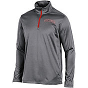Champion Men's Wisconsin Badgers Grey Knit Mesh Quarter-Zip Shirt