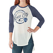 G-III for Her Women's Sporting KC Tailgate Three Quarter Sleeve Vintage White T-Shirt
