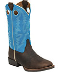 Justin Youth Chocolate Buffalo Bent Rail Western Boots