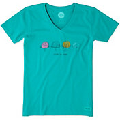 Life is Good Women's Four Trees Crusher Vee T-Shirt