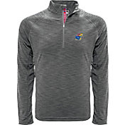 Levelwear Men's Kansas Jayhawks Grey Mobility Quarter-Zip Long Sleeve Shirt