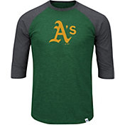 Majestic Men's Oakland Athletics Green/Grey Raglan Three-Quarter Sleeve Shirt