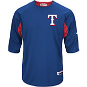 Majestic Men's Texas Rangers Cool Base Royal Authentic Collection Batting Practice Top