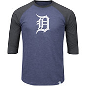 Majestic Men's Detroit Tigers Navy/Grey Raglan Three-Quarter Sleeve Shirt