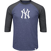 Majestic Men's New York Yankees Navy/Grey Raglan Three-Quarter Sleeve Shirt