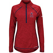 Majestic Women's Los Angeles Angels Cool Base Red Half-Zip Pullover
