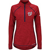 Majestic Women's Washington Nationals Cool Base Red Half-Zip Pullover