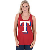 Majestic Women's Texas Rangers Tested Red Scoop Neck Tank