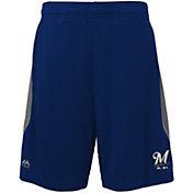 Majestic Youth Milwaukee Brewers Cool Base Rally Navy Performance Shorts