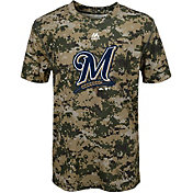 Majestic Youth Milwaukee Brewers Cool Base Digi Camo Performance T-Shirt