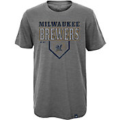Majestic Youth Milwaukee Brewers Heirloom Grey T-Shirt