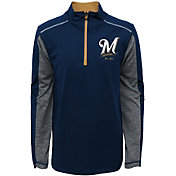 Majestic Youth Milwaukee Brewers Club Series Navy Quarter-Zip Fleece