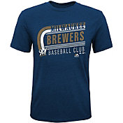 Majestic Youth Milwaukee Brewers Tri-Blend Curveball Navy T-Shirt