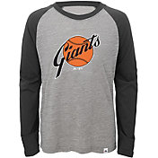 Majestic Youth San Francisco Giants Cooperstown Grey/Black Raglan Three-Quarter Sleeve Shirt