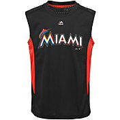 Majestic Youth Miami Marlins Cool Base Foul Line Black Performance Sleeveless Shirt