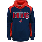 Majestic Youth Cleveland Indians Therma Base Geo Fuse Navy Hooded Fleece