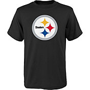 NFL Team Apparel Youth Pittsburgh Steelers Logo Black T-Shirt