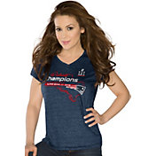 Touch by Alyssa Milano Women's Super Bowl LI Champions New England Patriots Navy V-Neck T-Shirt