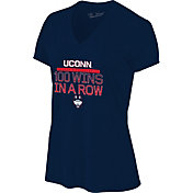The Victory Women's UConn Huskies Basketball '100 Wins' V-Neck T-Shirt