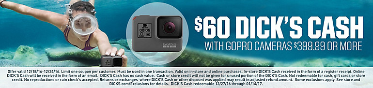 $60 DICK's Cash w/ GoPro Purchase $399.99+