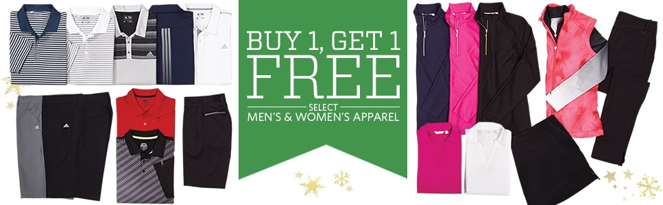 Buy One Get One Free on Select Men's & Women's Apparel