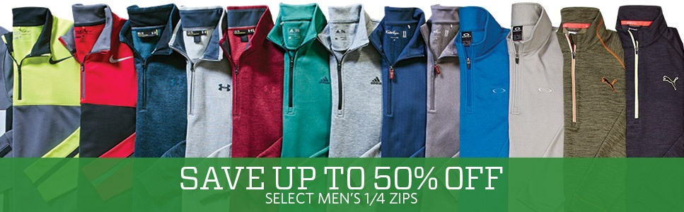 Save Up To 50% Off on Select Men's 1/4 Zips