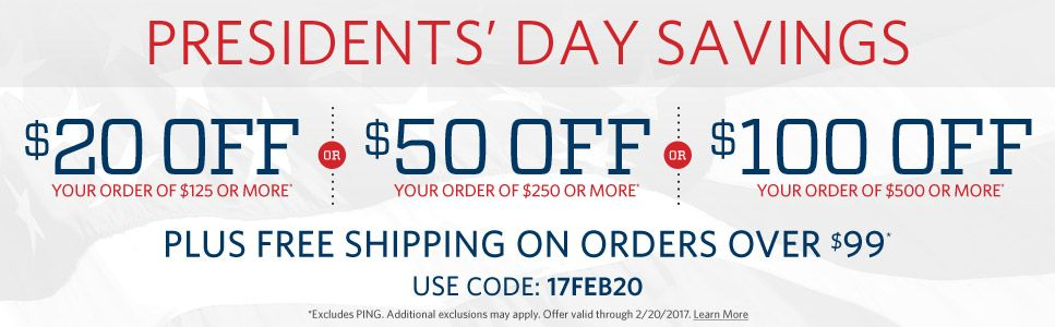 $20 off your order of $125, $50 off your order of $250, $100 off your order of $500