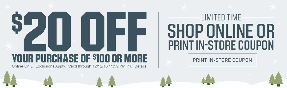 $20 Off Your Purchase Of $100 Or More