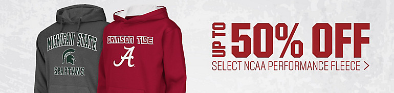 50% Off NCAA Men's, Women's and Youth Performance Fleece
