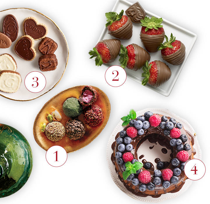 Get inspired for your fall tablescape with Godiva chocolates, chocolate covered strawberries, and treats