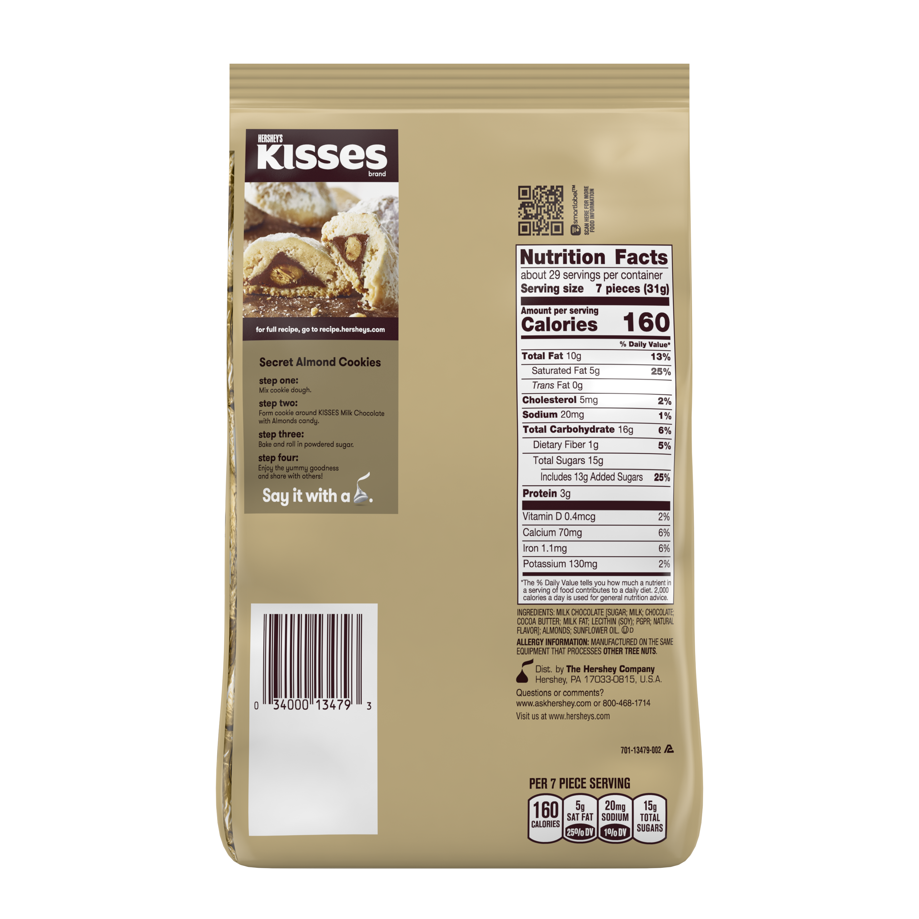 HERSHEY'S KISSES Milk Chocolate with Almonds Candy, 32 oz pack - Back of Package