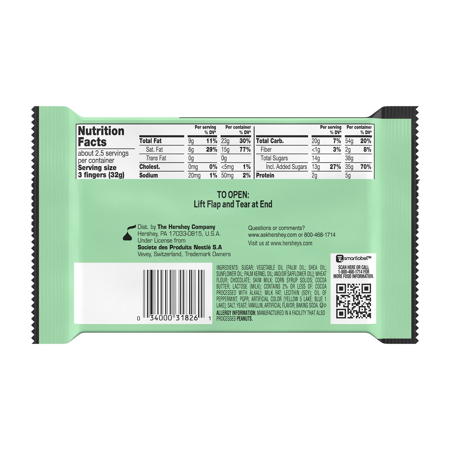KIT KAT® DUOS Mint and Dark Chocolate King Size Candy Bar, 3 oz - Back of Package