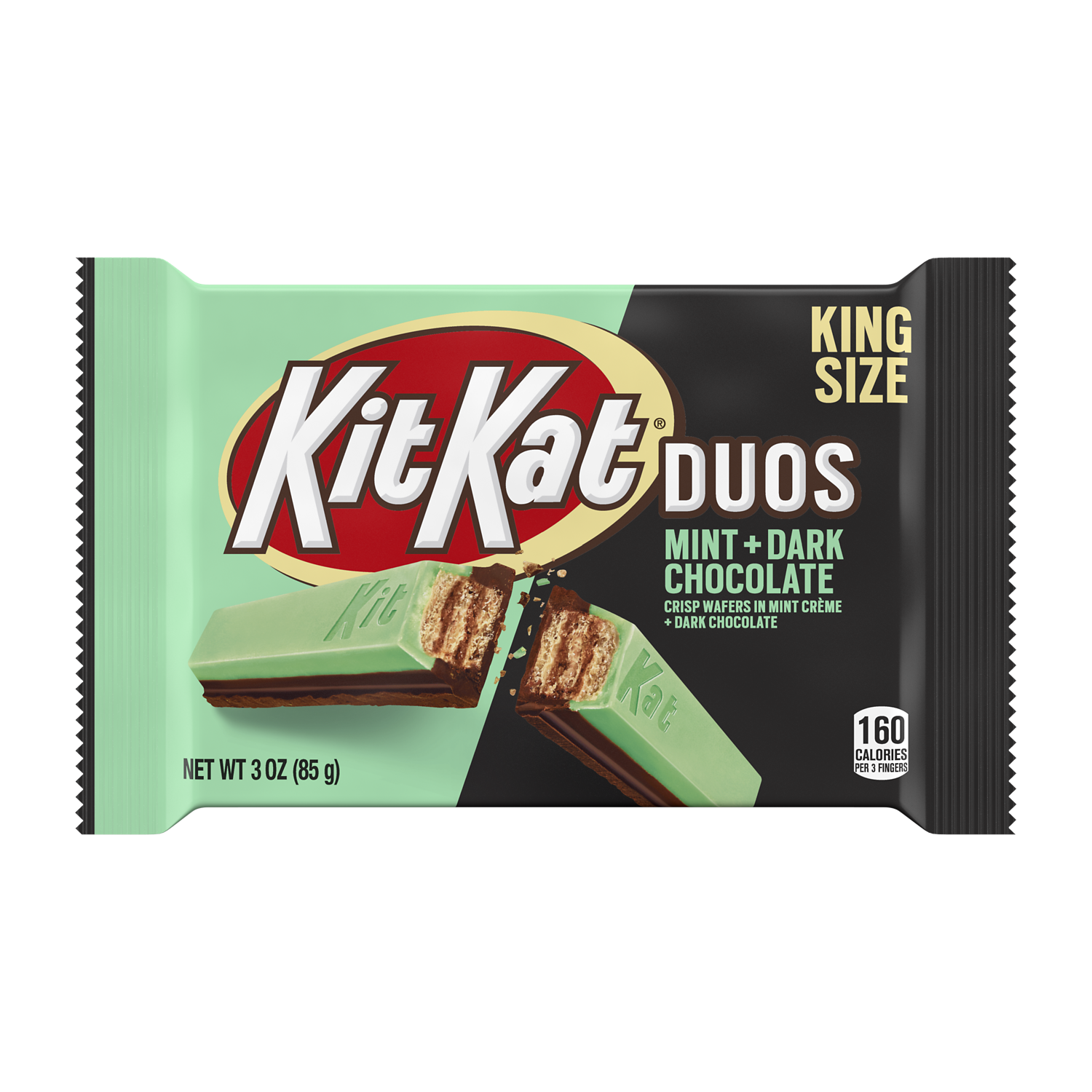KIT KAT® DUOS Mint and Dark Chocolate King Size Candy Bar, 3 oz - Front of Package