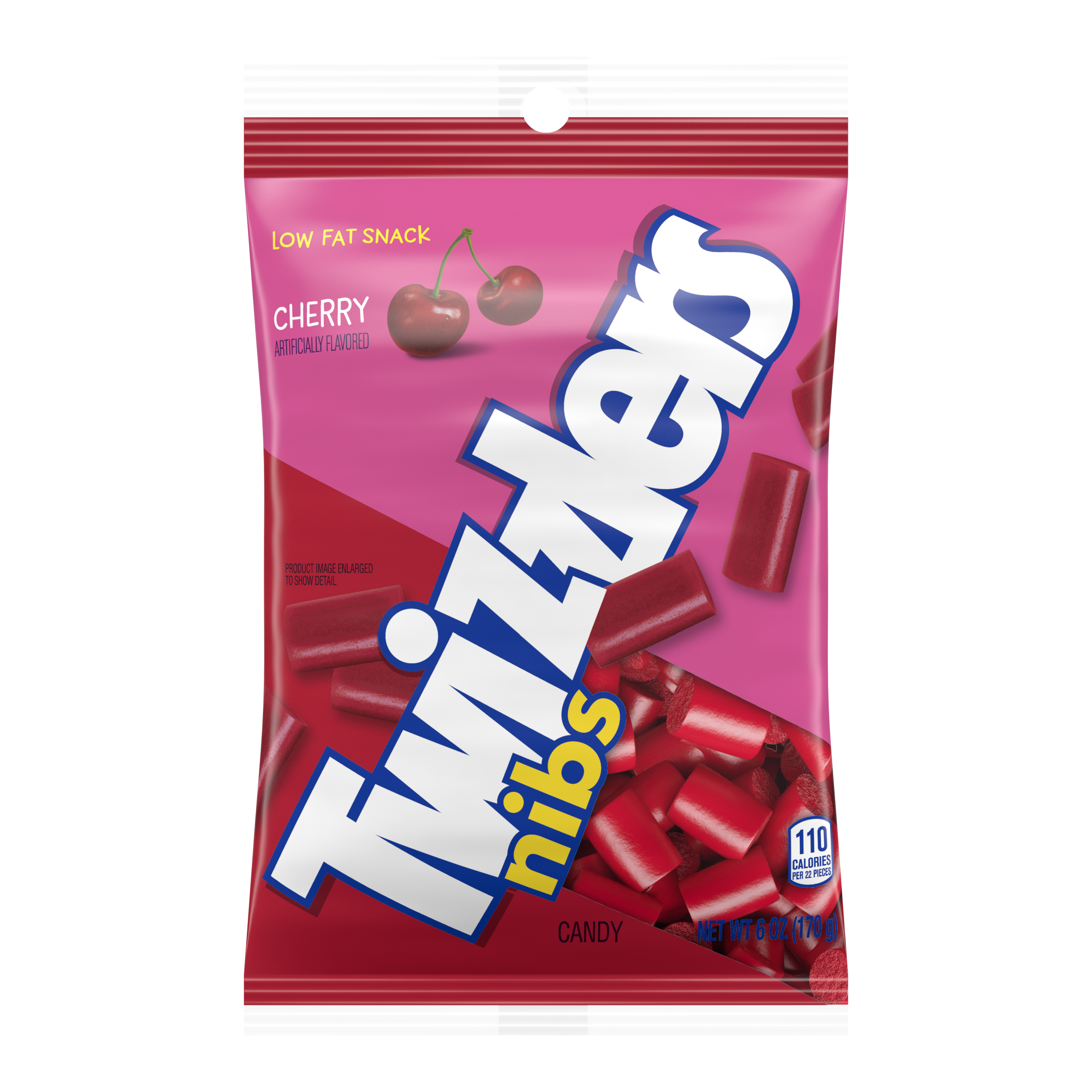TWIZZLERS NIBS Cherry Flavored Candy, 6 oz bag - Front of Package
