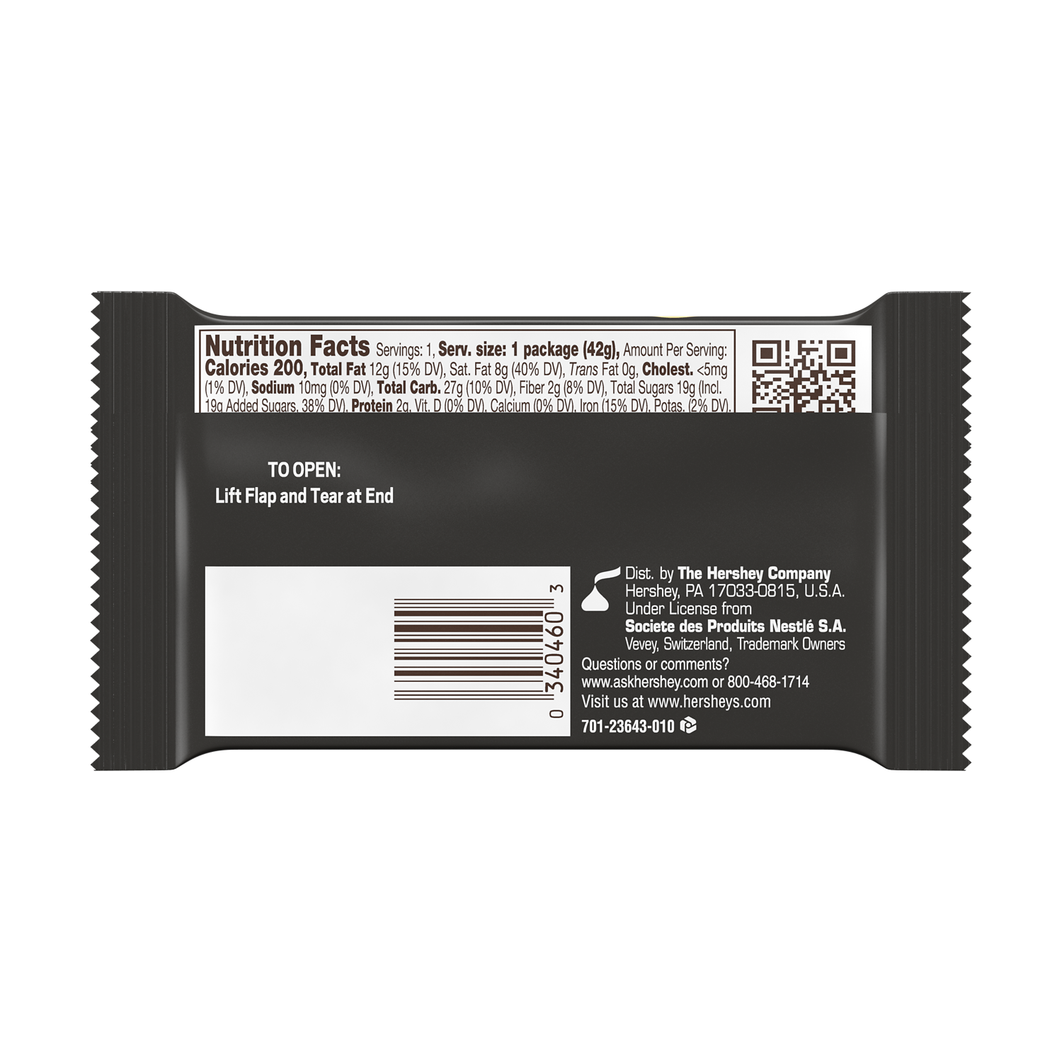 KIT KAT® Dark Chocolate Candy Bar, 1.5 oz - Back of Package