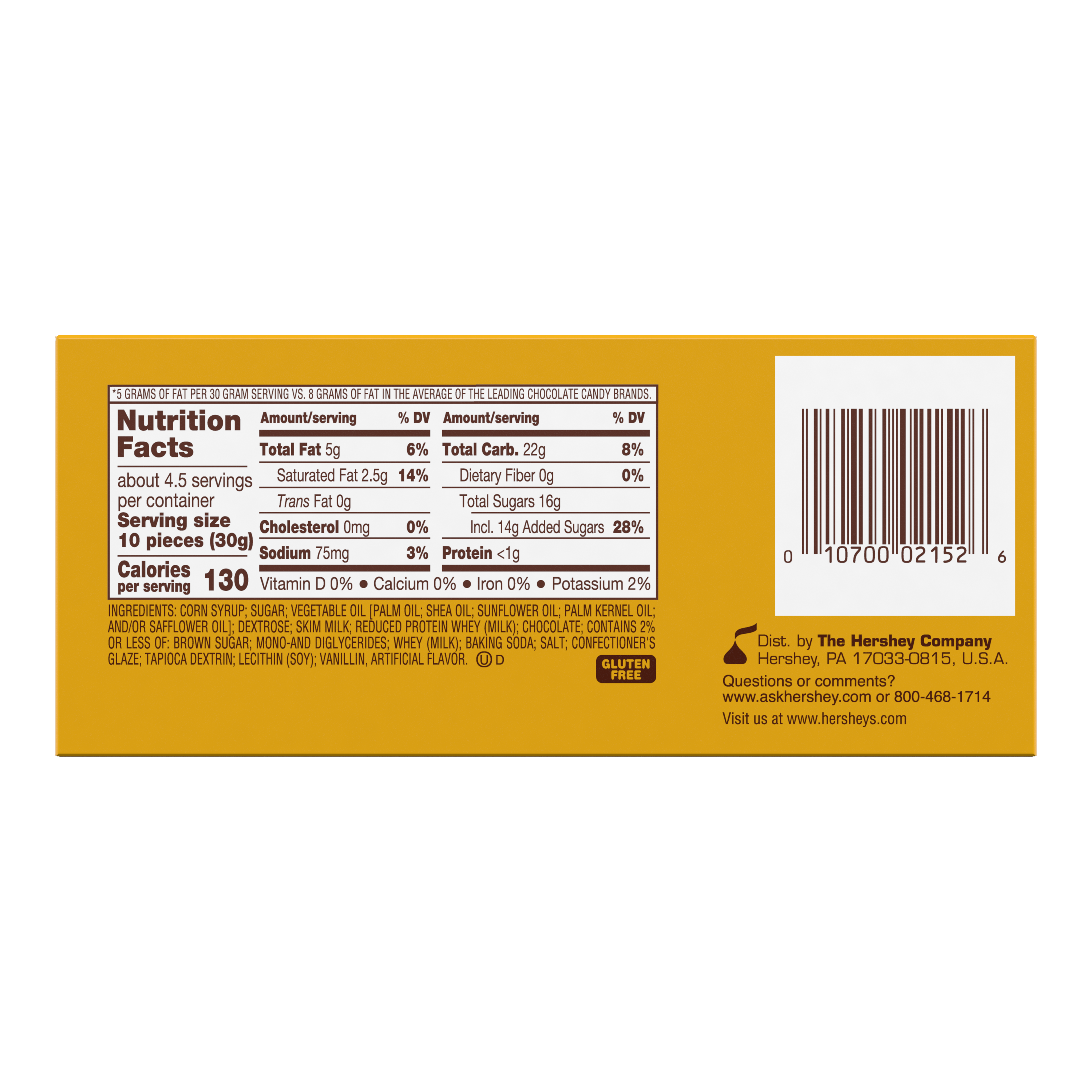 MILK DUDS Candy, 5 oz box - Back of Package