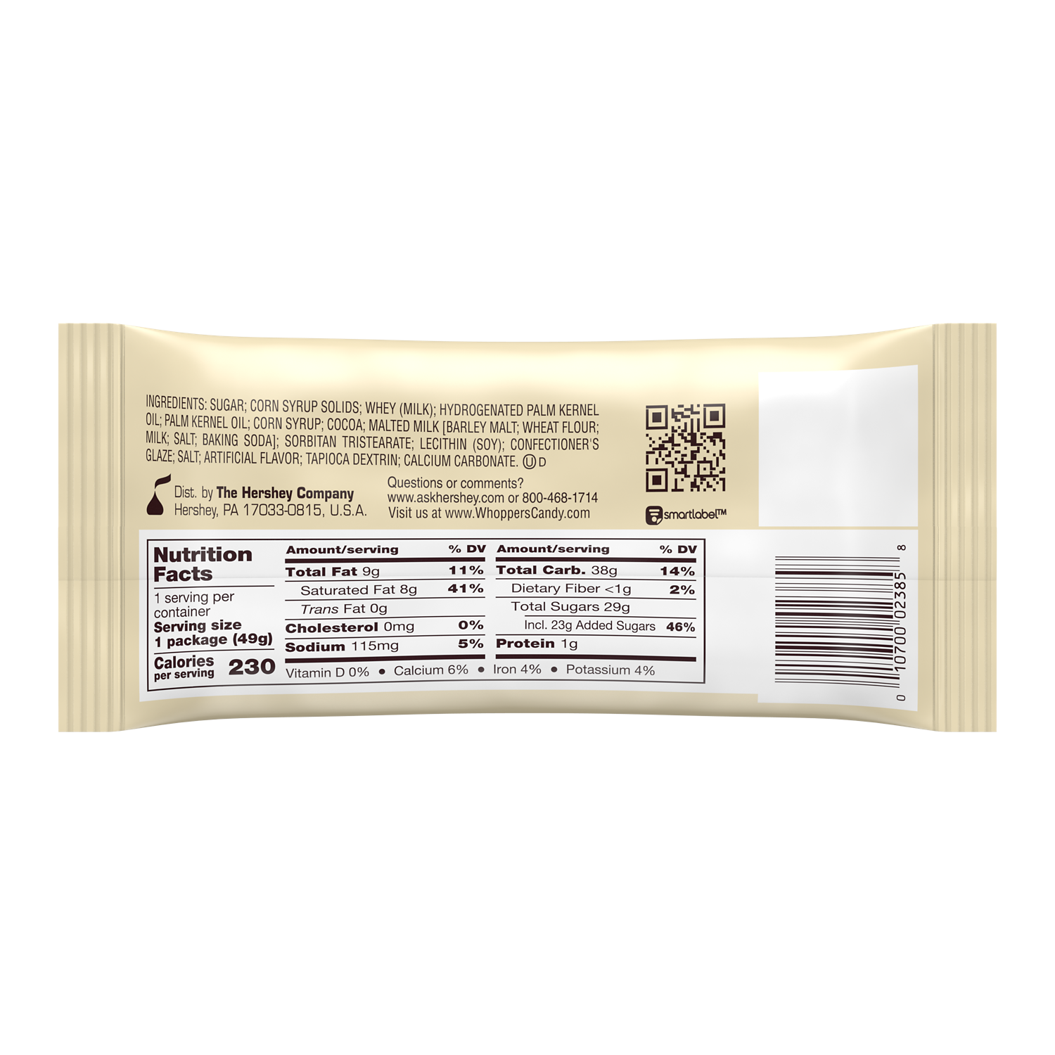 WHOPPERS Milk Chocolate Malted Milk Balls, 1.75 oz - Back of Package