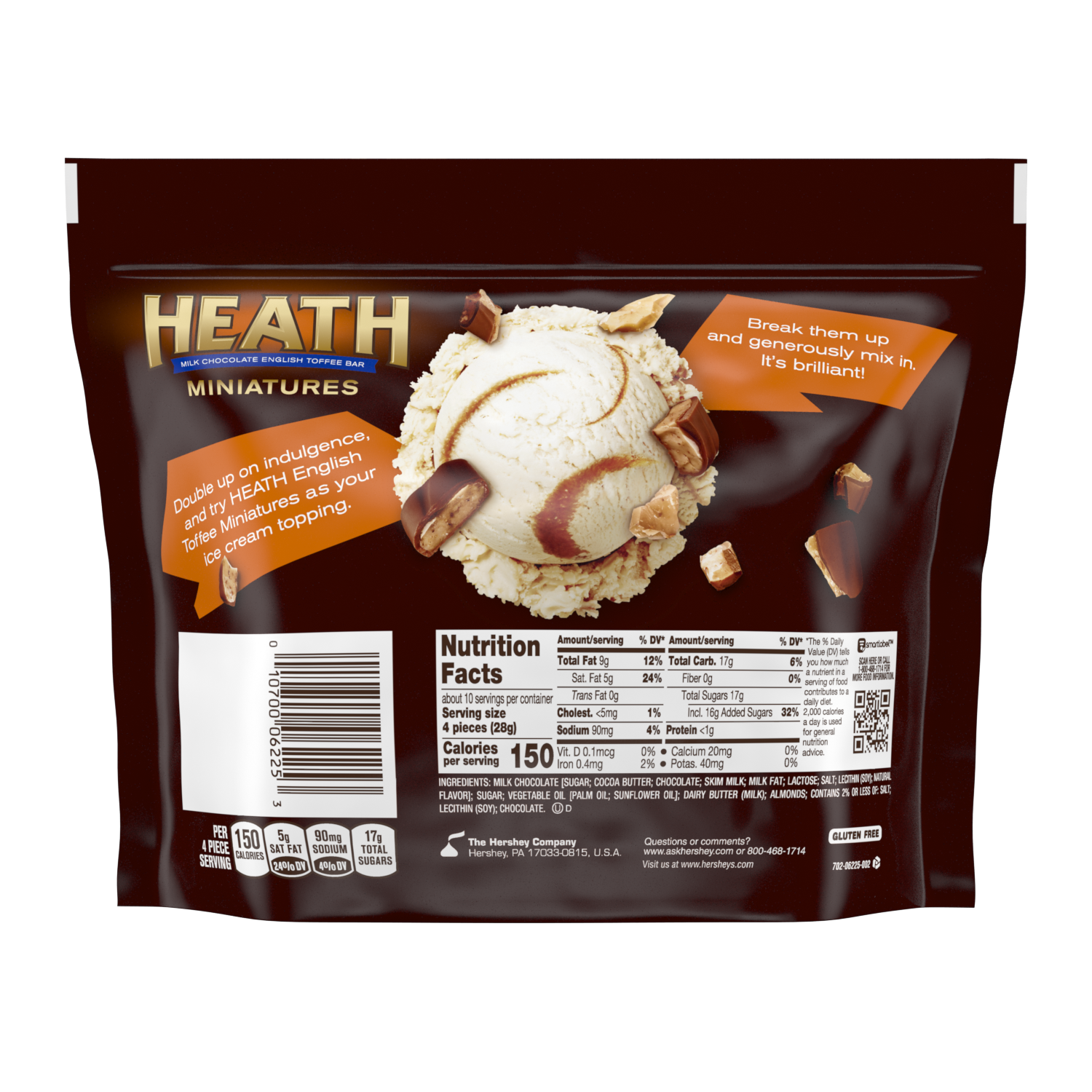 HEATH Miniatures Milk Chocolate English Toffee Candy Bars, 10.2 oz bag - Back of Package