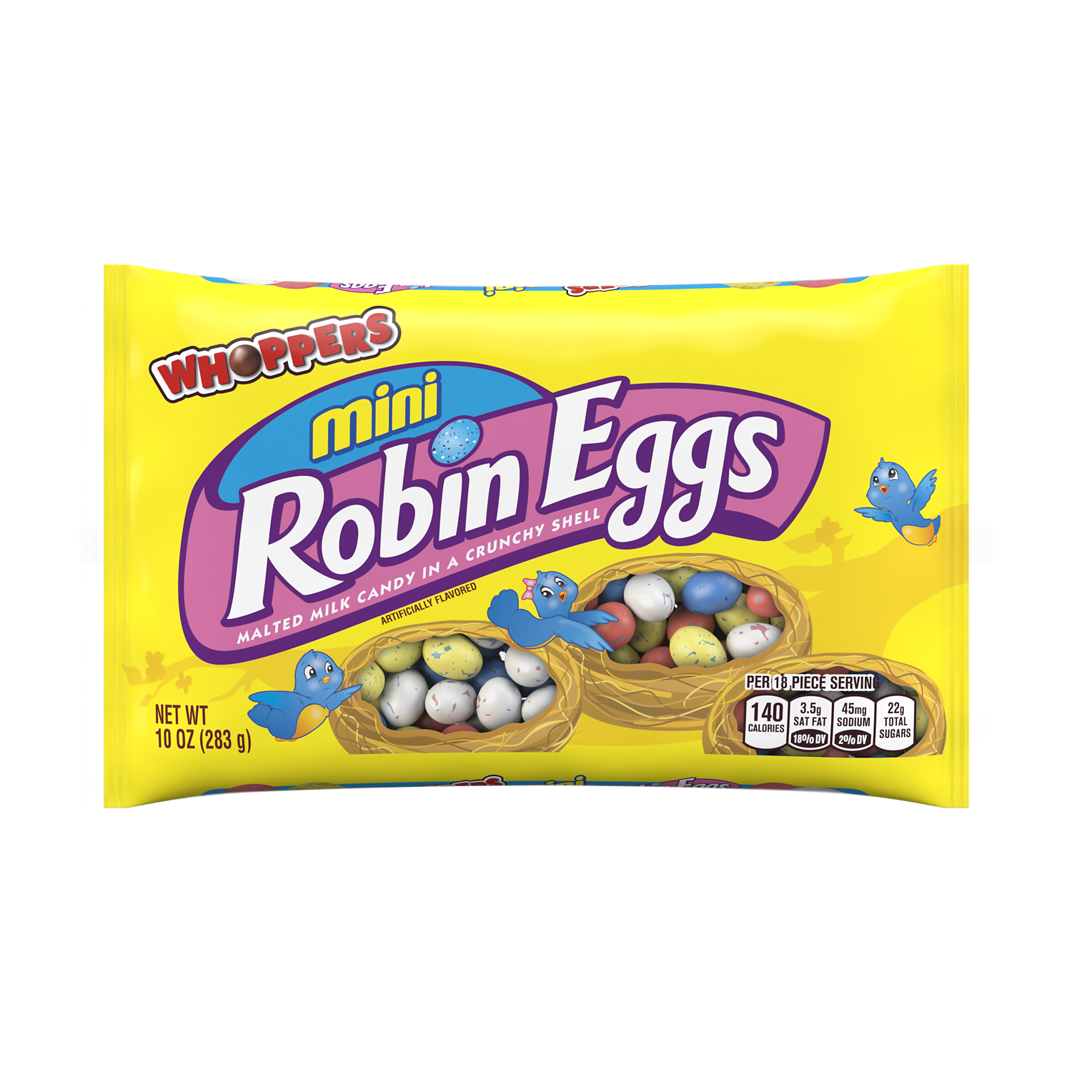 WHOPPERS ROBIN EGGS Mini Easter Milk Chocolate Malted Milk Balls, 10 oz bag - Front of Package