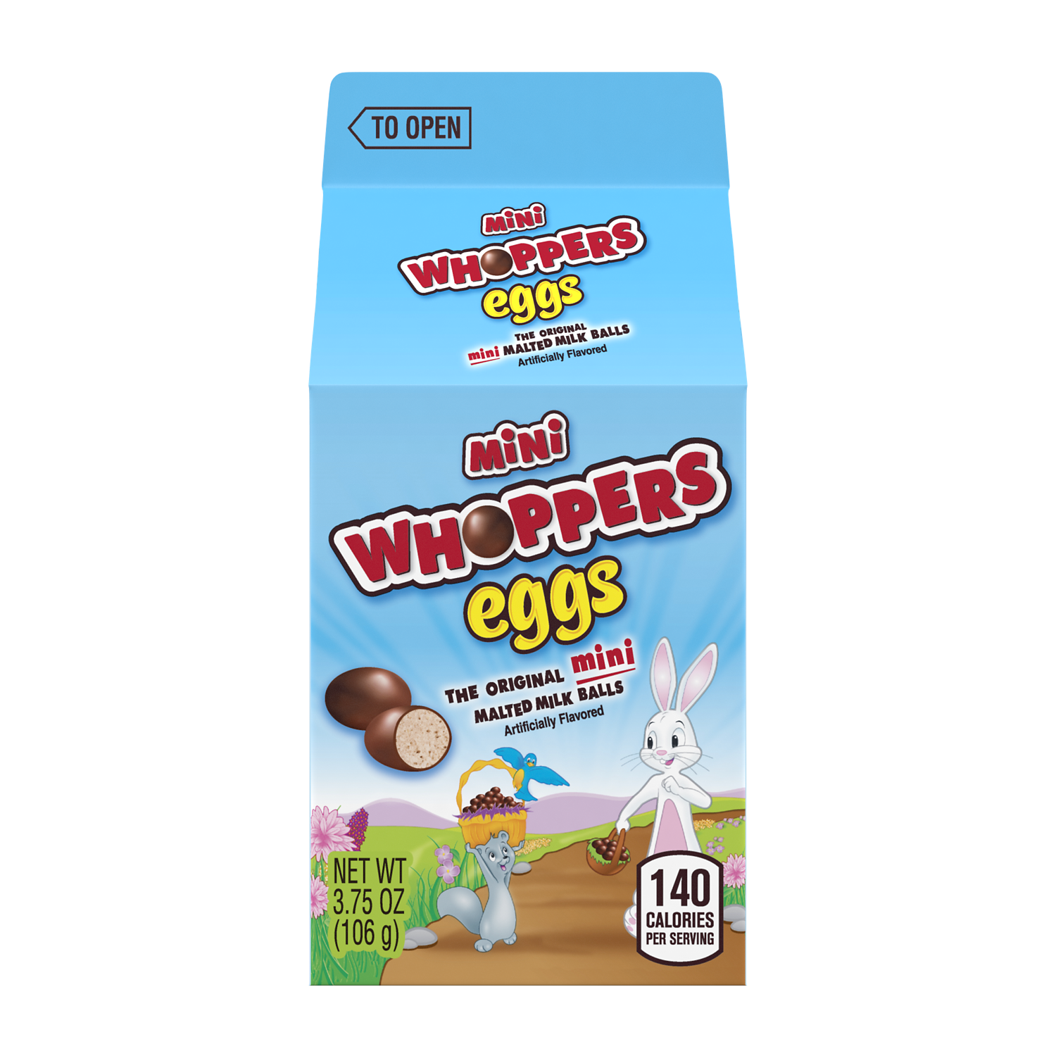 WHOPPERS Mini Malted Milk Balls, 3.75 oz carton - Front of Package