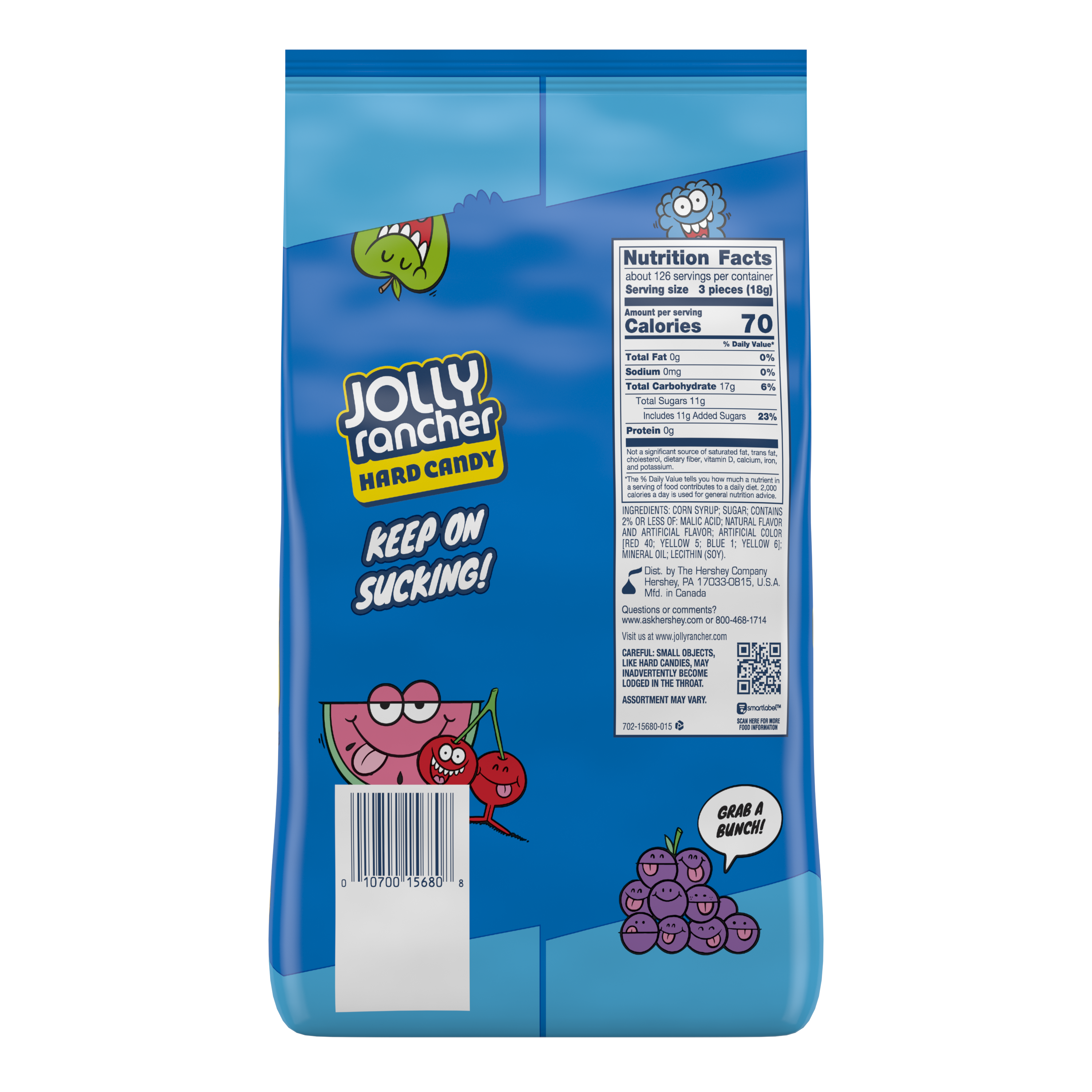 JOLLY RANCHER Original Flavors Hard Candy, 80 oz bag, 360 pieces - Back of Package
